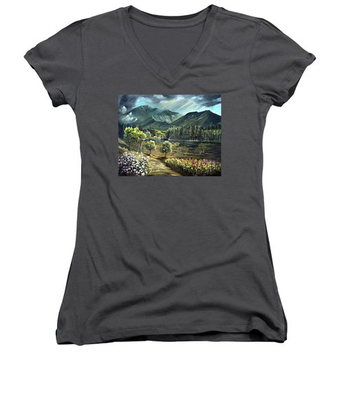 Vista View Of Cannon Mountain Women's V-Neck