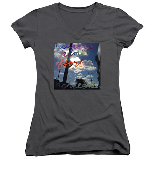 Visualize Calm Effort Achieve  Women's V-Neck T-Shirt