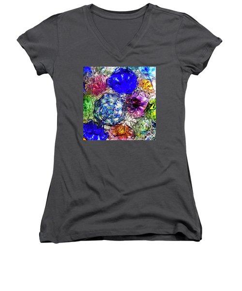 Vitreous Flora Women's V-Neck T-Shirt (Junior Cut) by Gary Holmes