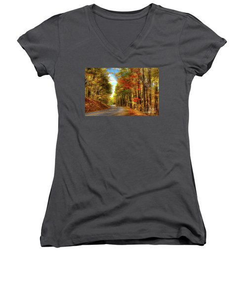 Women's V-Neck T-Shirt (Junior Cut) featuring the painting Vivid Autumn In The Blue Ridge Mountains Ap by Dan Carmichael