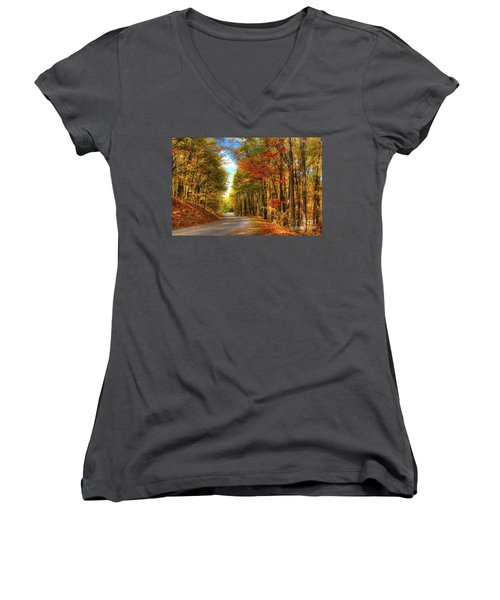 Vivid Autumn In The Blue Ridge Mountains Women's V-Neck T-Shirt (Junior Cut) by Dan Carmichael