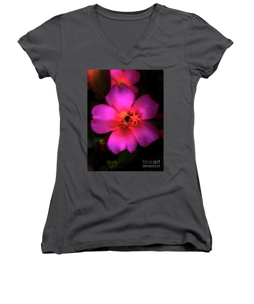 Vivid Rich Pink Flower Women's V-Neck