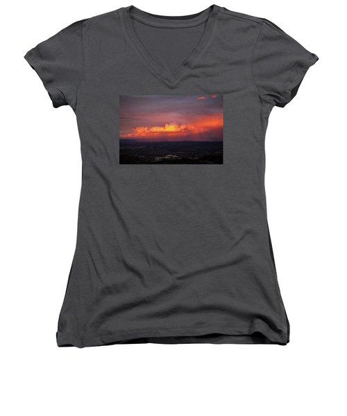 Vivid Verde Valley Sunset Women's V-Neck T-Shirt (Junior Cut) by Ron Chilston