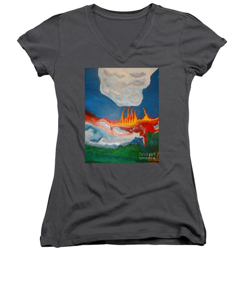 Volcanic Action Women's V-Neck (Athletic Fit)