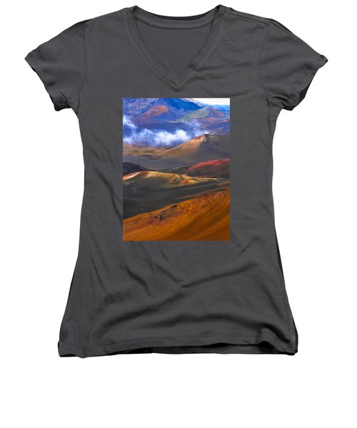Women's V-Neck T-Shirt (Junior Cut) featuring the photograph Volcanic Crater In Maui by Debbie Karnes