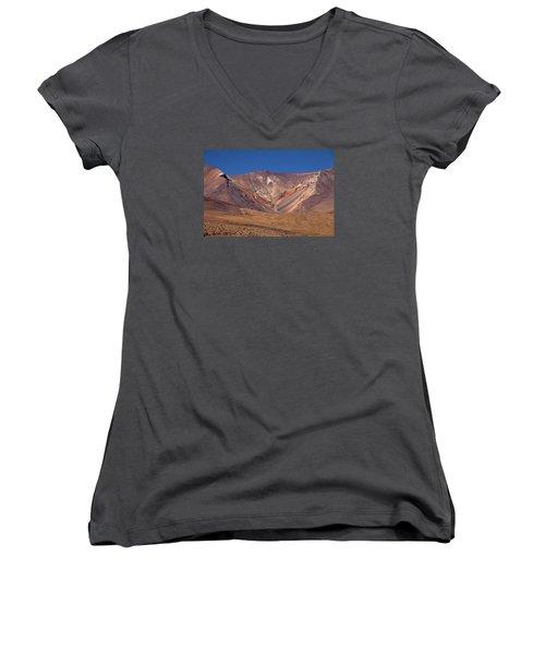 Volcano Crater In Siloli Desert Women's V-Neck T-Shirt (Junior Cut) by Aivar Mikko