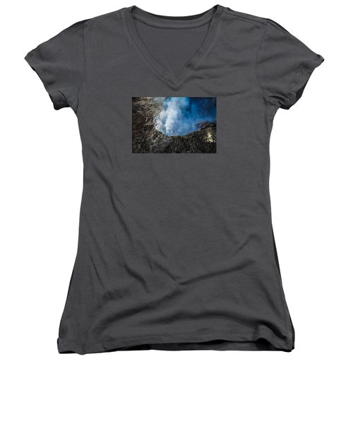 Women's V-Neck T-Shirt (Junior Cut) featuring the photograph Volcano by M G Whittingham