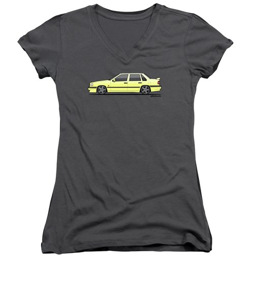Volvo 850r 854r T5-r Creme Yellow Women's V-Neck (Athletic Fit)