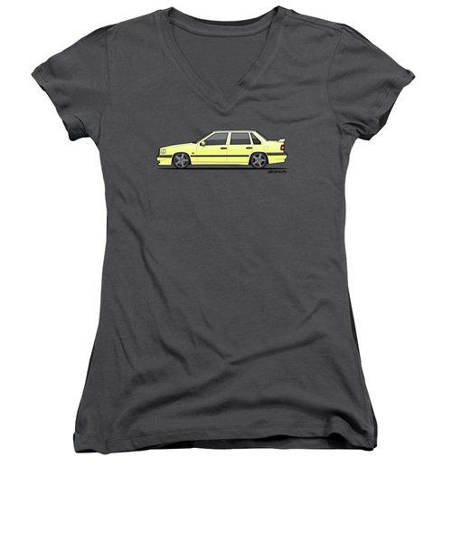 Volvo 850r 854r T5-r Creme Yellow Women's V-Neck T-Shirt (Junior Cut)
