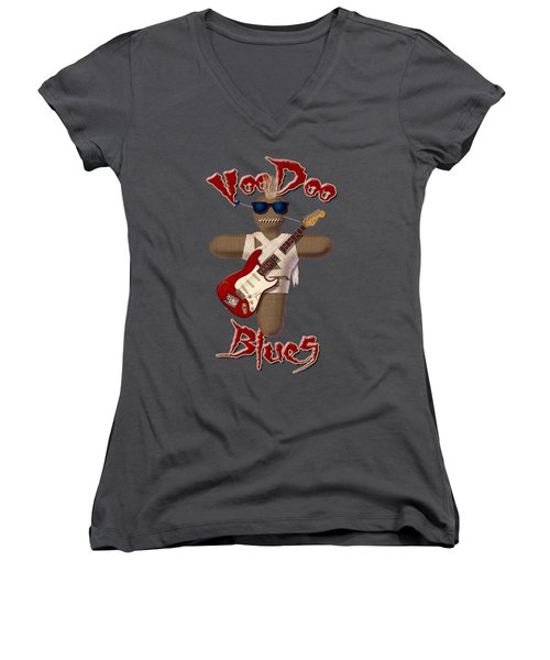 Voodoo Blues Strat T Shirt Women's V-Neck T-Shirt (Junior Cut) by WB Johnston