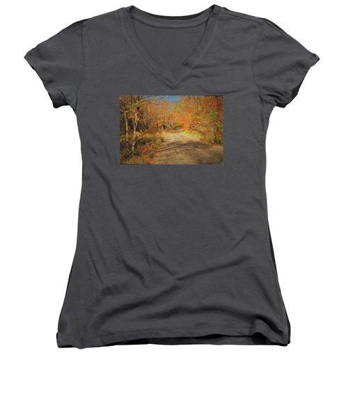 Women's V-Neck T-Shirt (Junior Cut) featuring the digital art Vt.rte. Fifty Eight Hazen  Notch by John Selmer Sr