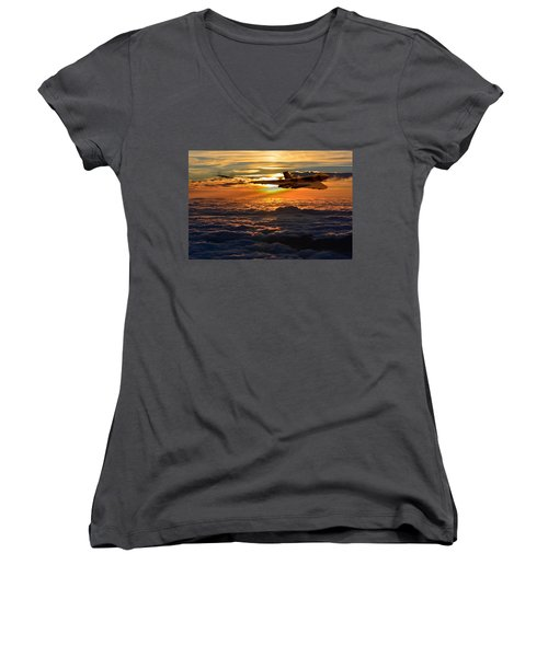 Vulcan Bomber Sunset 2 Women's V-Neck T-Shirt