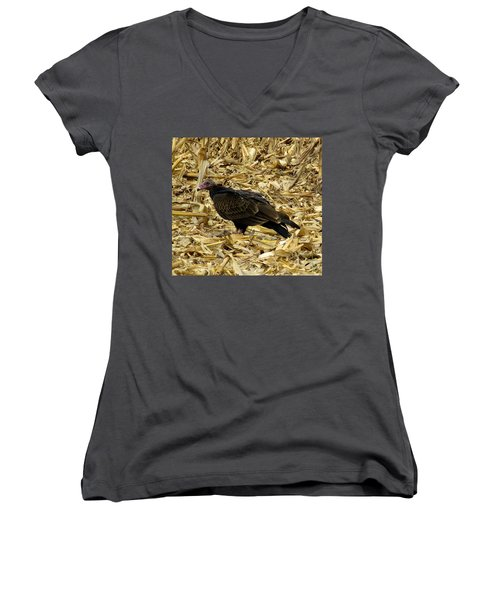 Vulture In The Corn Field  Women's V-Neck T-Shirt (Junior Cut) by Keith Stokes
