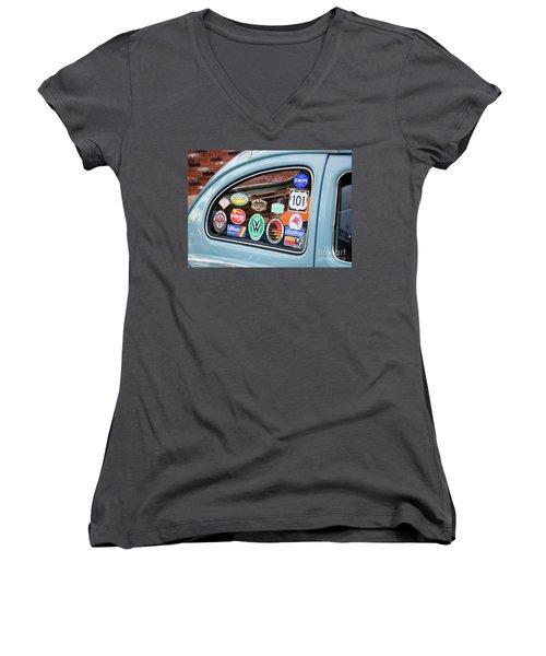 Women's V-Neck T-Shirt (Junior Cut) featuring the photograph Vw Club by Chris Dutton