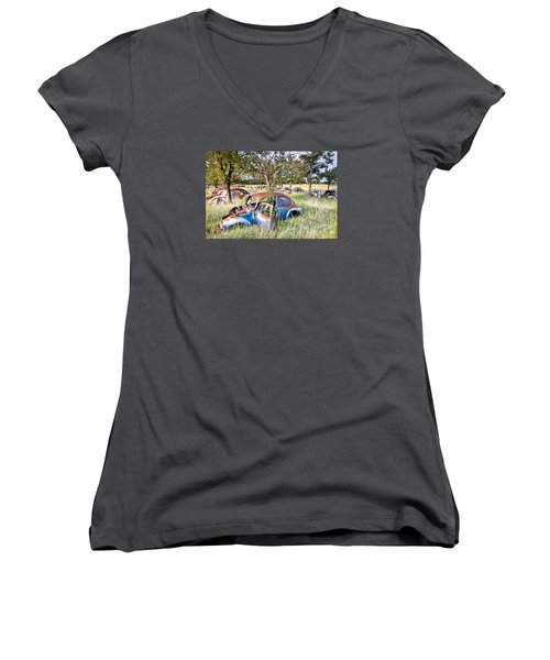 Women's V-Neck T-Shirt (Junior Cut) featuring the photograph Vw Graveyard by Lawrence Burry