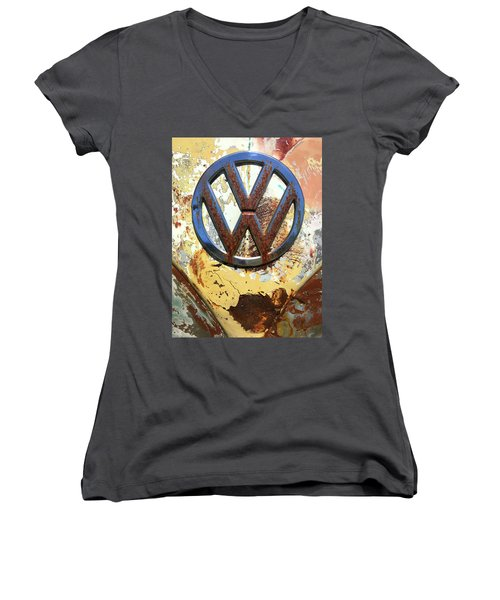 Vw Volkswagen Emblem With Rust Women's V-Neck T-Shirt (Junior Cut) by Kelly Hazel