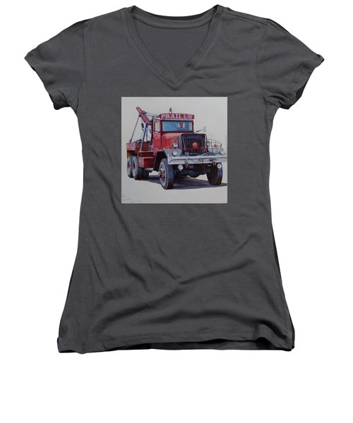 Women's V-Neck T-Shirt (Junior Cut) featuring the painting Ward La France Wrecker by Mike Jeffries