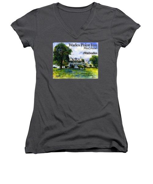 Wades Point Inn Shirt Women's V-Neck (Athletic Fit)