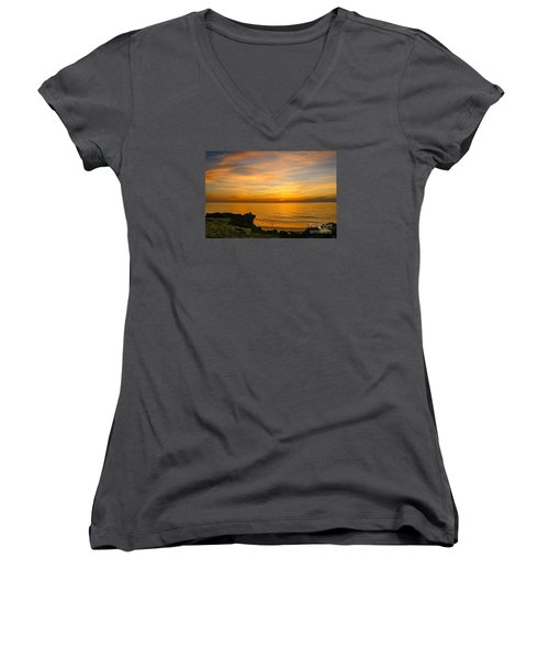 Wading In Golden Waters Women's V-Neck T-Shirt (Junior Cut) by Tom Claud