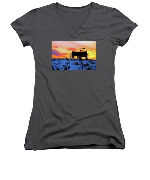 Wagon Hill At Sunset Women's V-Neck