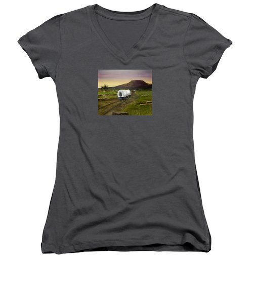 Women's V-Neck T-Shirt (Junior Cut) featuring the painting Wagons West by Sheri Keith