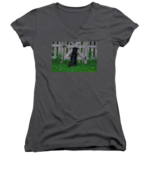 Waiting At The Gate Women's V-Neck