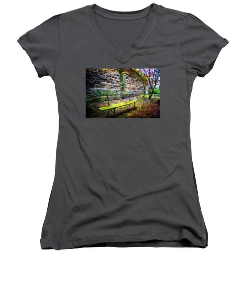 Women's V-Neck T-Shirt (Junior Cut) featuring the photograph Waiting by Debra and Dave Vanderlaan