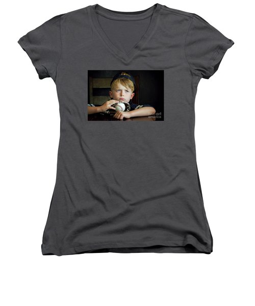 Waiting For Daddy Women's V-Neck (Athletic Fit)