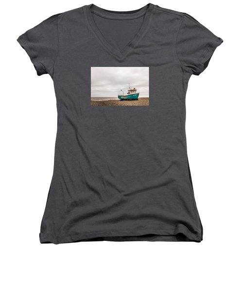 Waiting For The Tide Women's V-Neck T-Shirt (Junior Cut) by David Warrington