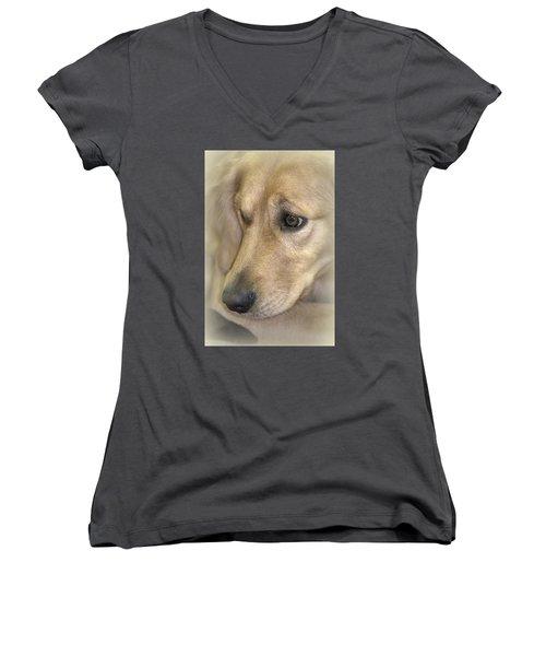 Waiting For You Women's V-Neck T-Shirt (Junior Cut) by Lori Seaman