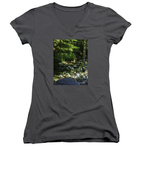 Women's V-Neck T-Shirt (Junior Cut) featuring the photograph Waiting by Nancy Marie Ricketts