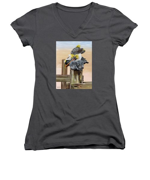 Women's V-Neck T-Shirt (Junior Cut) featuring the painting Waiting On The Tide by Phyllis Beiser