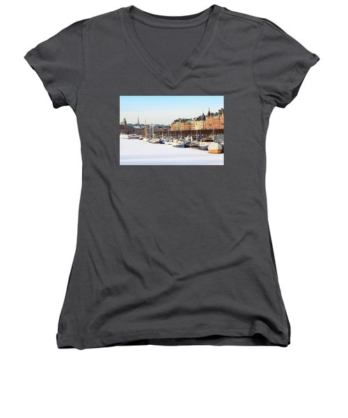 Women's V-Neck T-Shirt (Junior Cut) featuring the photograph Waiting Out Winter by David Chandler