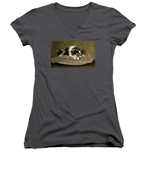Women's V-Neck T-Shirt (Junior Cut) featuring the digital art Waiting by Thanh Thuy Nguyen