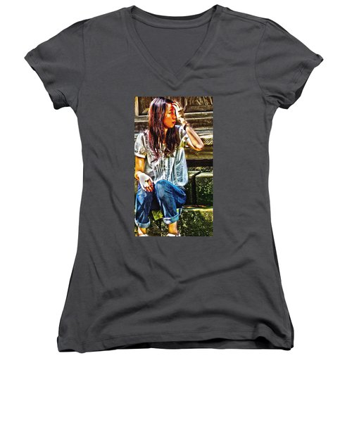 Women's V-Neck T-Shirt (Junior Cut) featuring the digital art Waitng For You by Tim Ernst