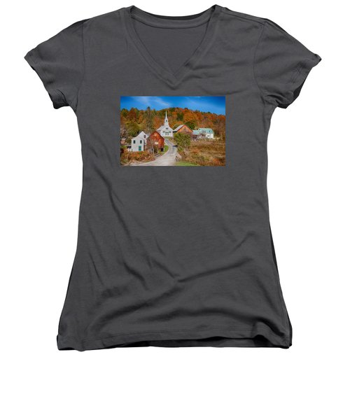 Waits River Church In Autumn Women's V-Neck
