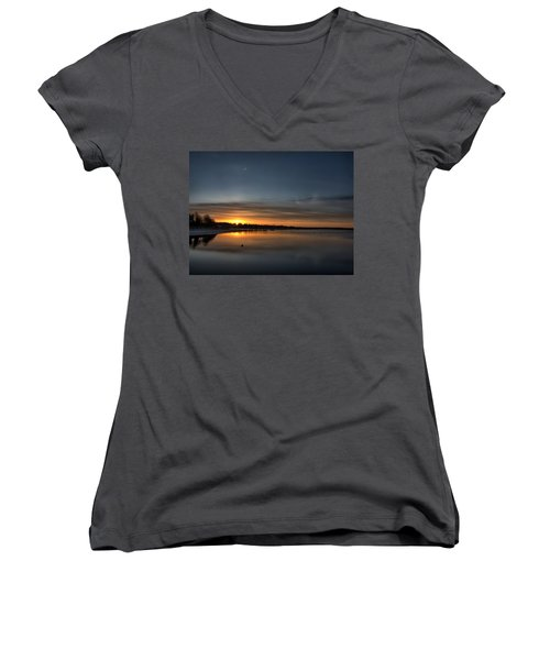 Waking To A Cold Sunrise Women's V-Neck