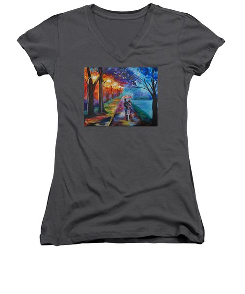 Walk By The Lake Series 1 Women's V-Neck T-Shirt (Junior Cut) by Leslie Allen