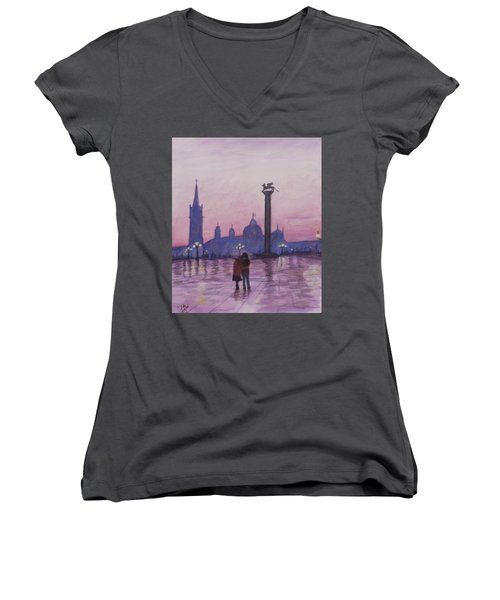 Women's V-Neck T-Shirt (Junior Cut) featuring the painting Walk In Italy In The Rain by Dan Wagner