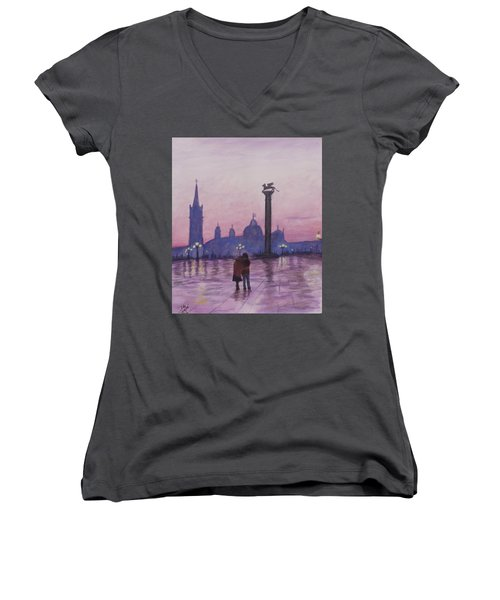 Walk In Italy In The Rain Women's V-Neck