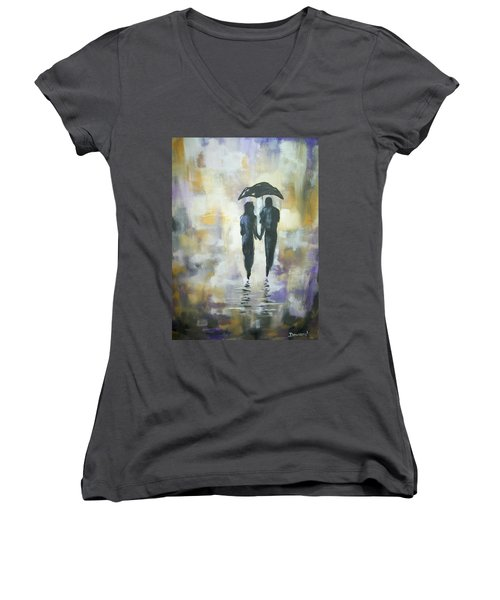 Women's V-Neck T-Shirt (Junior Cut) featuring the painting Walk In The Rain #3 by Raymond Doward