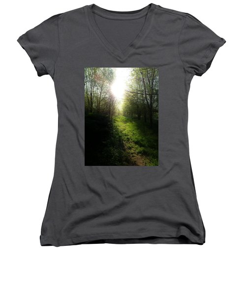 Walk In The Woods Women's V-Neck T-Shirt (Junior Cut) by Michele Carter