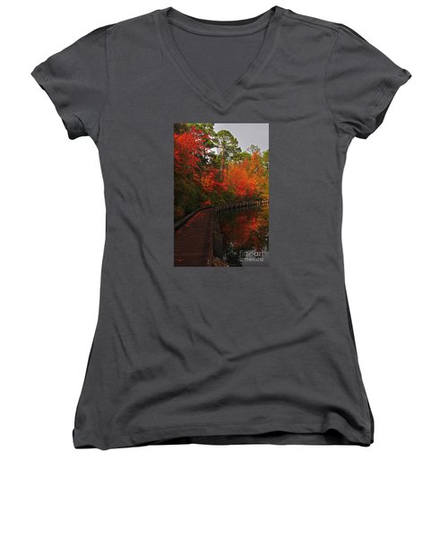 Walk Into Fall Women's V-Neck (Athletic Fit)