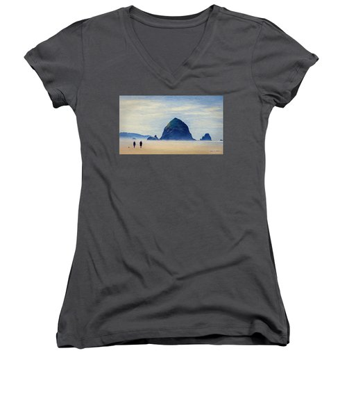 Walk On The Beach Women's V-Neck T-Shirt (Junior Cut) by Jeff Kolker