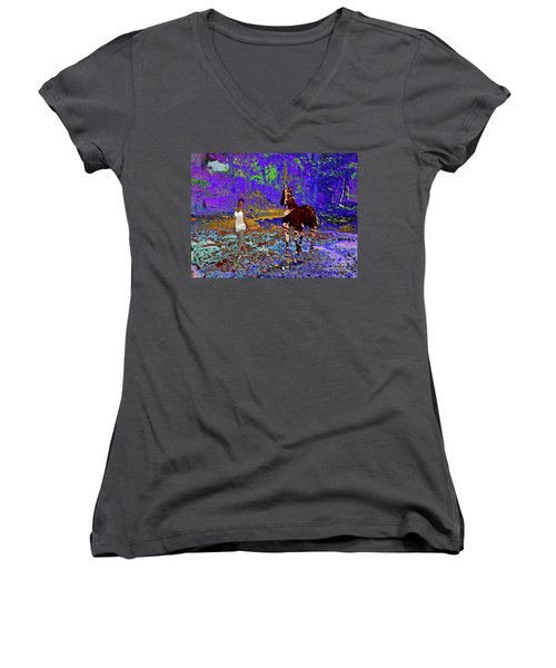 Walk The Enchanted Forest Women's V-Neck T-Shirt