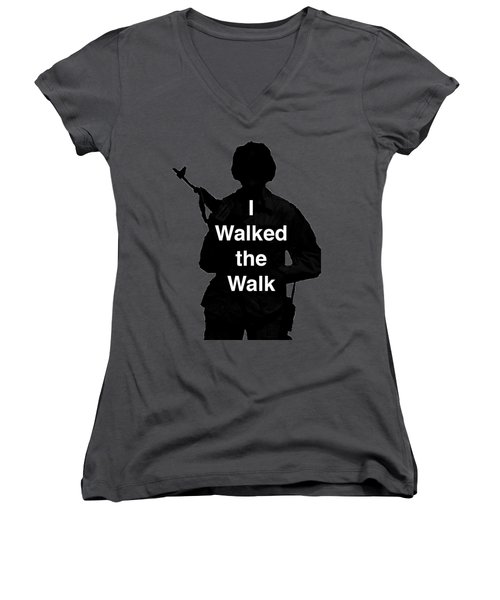 Women's V-Neck T-Shirt (Junior Cut) featuring the photograph Walk The Walk by Melany Sarafis