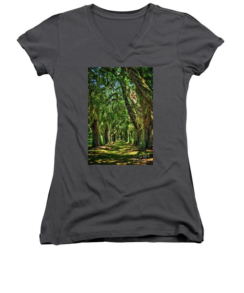Women's V-Neck T-Shirt (Junior Cut) featuring the photograph Walk With Me Avenue Of Oaks St Simons Island Art by Reid Callaway