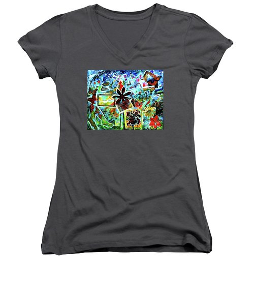 Women's V-Neck T-Shirt (Junior Cut) featuring the mixed media Walking Amongst The Monarchs by Genevieve Esson