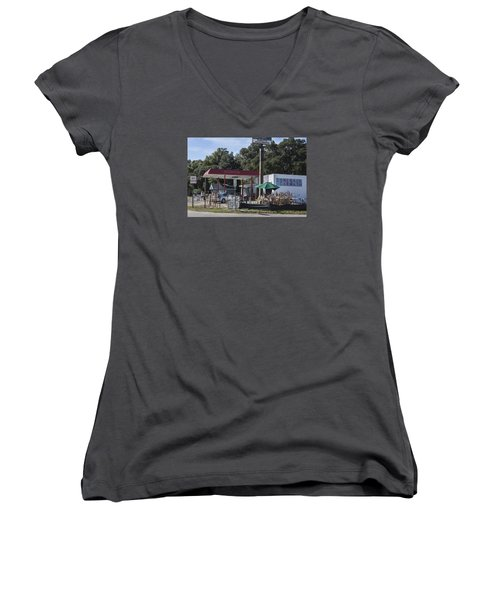 Walking Canes And Staffs At The Comeback Carwash Women's V-Neck T-Shirt (Junior Cut) by Suzanne Gaff