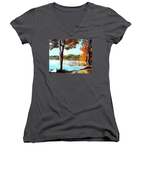 Walking Down Lake Champlain Women's V-Neck T-Shirt
